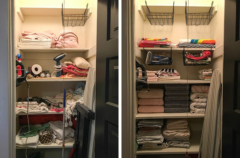 steps storage toiletries super bins trays simple way organization to baskets posts organize how linens and closet in your small linen best store blog crates