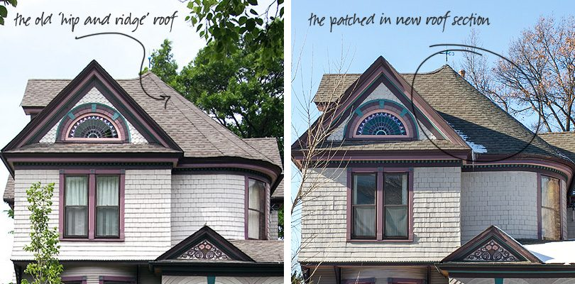 Hip and Ridge Roof Replaced and Patched in on Victorian Turret
