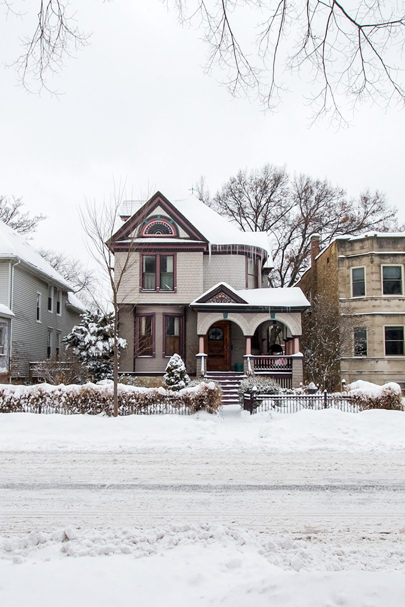Snowy Oak Park Victorian Queen Anne House