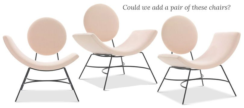 Could we add a pair of these pink Elroy arm chairs?