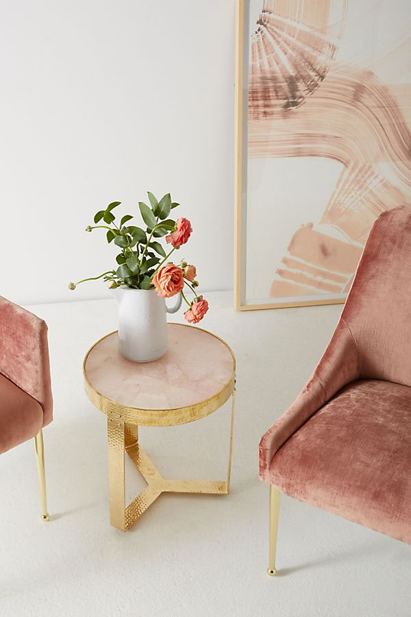 Pink Rose Quartz Lirit Side Table, Anthropologie