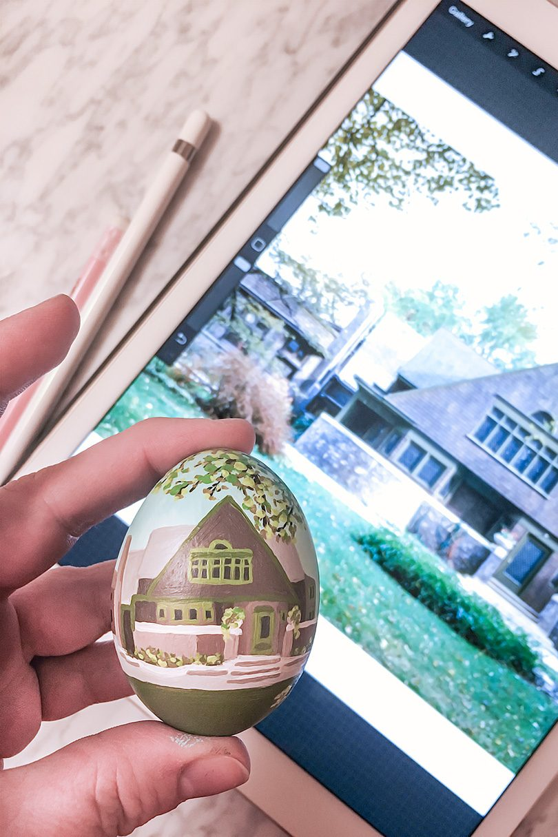 Painting the Frank Lloyd Wright Home and Studio on a Ceramic Easter Egg