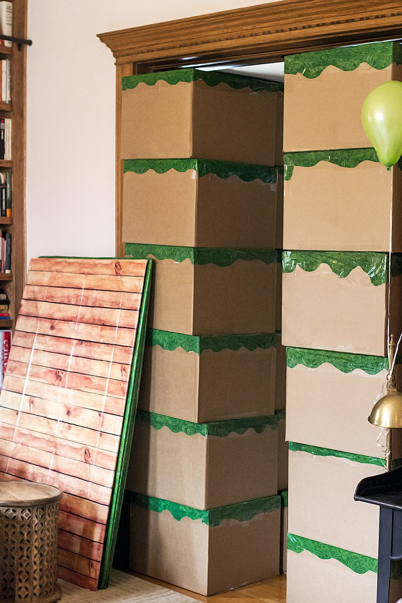 DIY Minecraft Blocks and Oak Planks for a Kid's Birthday Party and Fort-Building