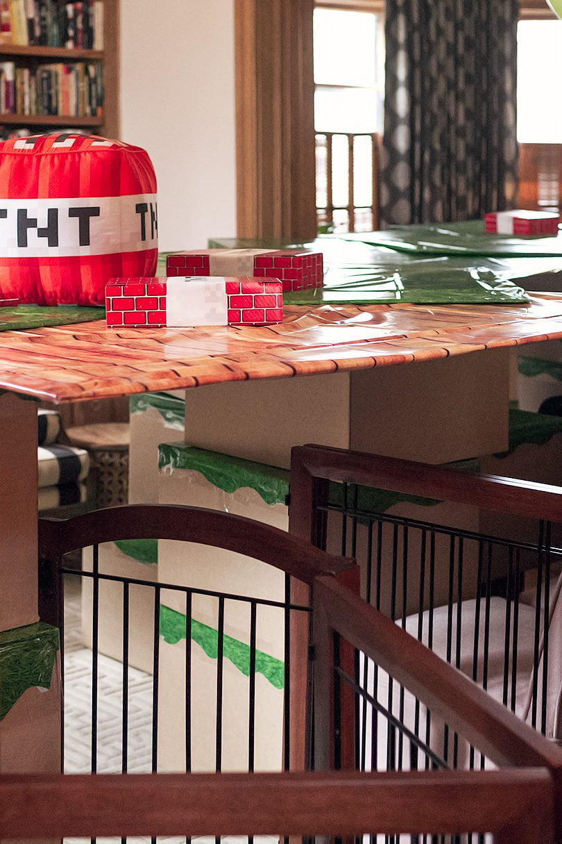 Minecraft Kid's Birthday Party - Fort with Blocks and TNT