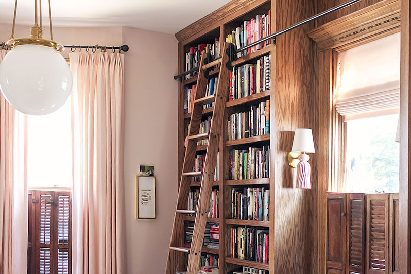 Pale Pink Linen Custom Window Treatments from The Shade Store | Making it Lovely - Home Library