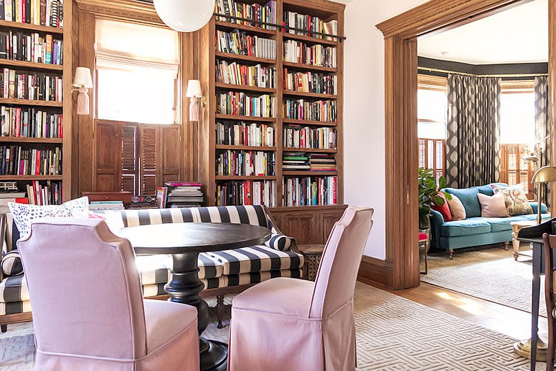 Home Library and Living Room with Unpainted Wood Trim | Making it Lovely