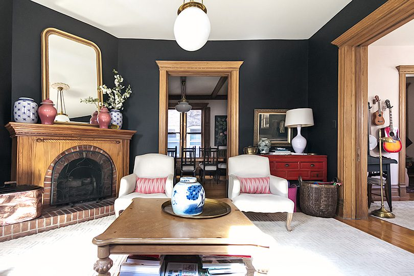 Black Walls, Unpainted Wood Trim, Victorian Living Room | Making it Lovely