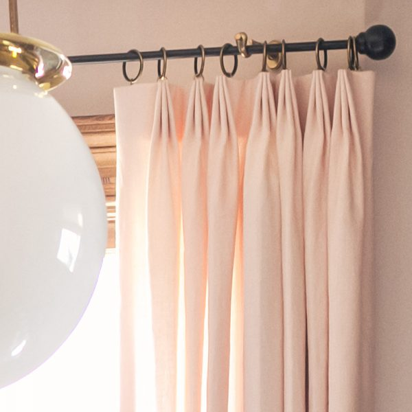 Tailored Pleat Pink Linen Drapery - The Shade Store