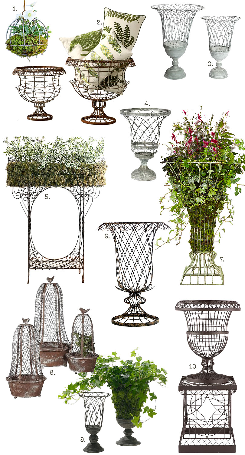 French-Inspired Outdoor Wire Planters