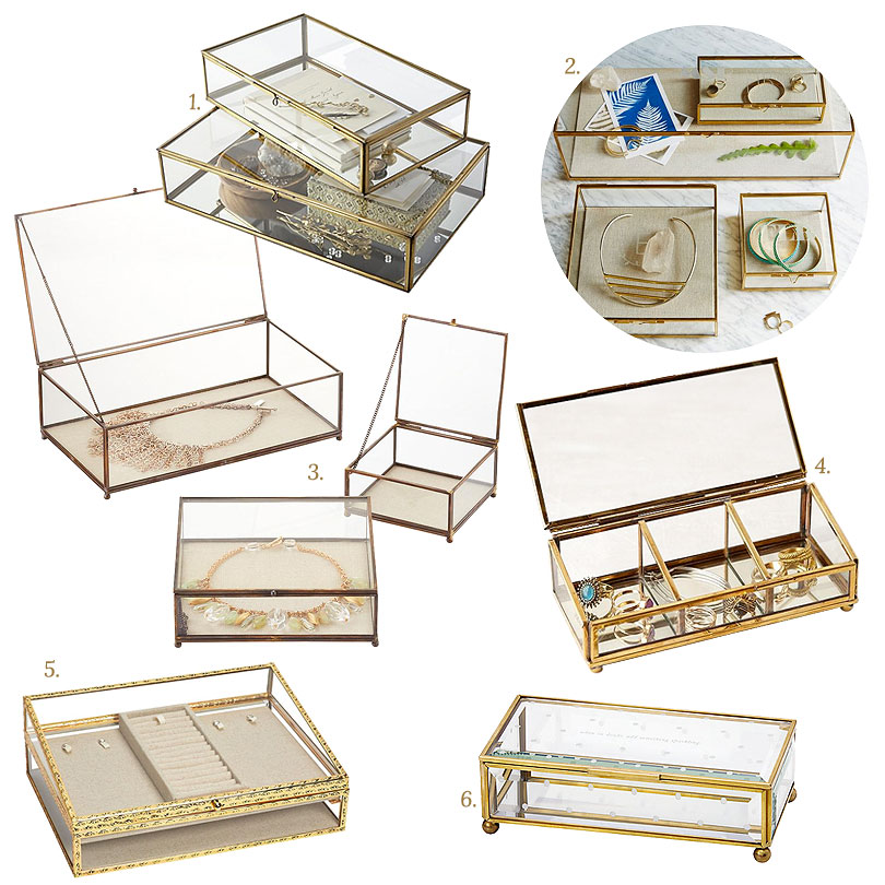 Glass and Brass Jewelry Boxes