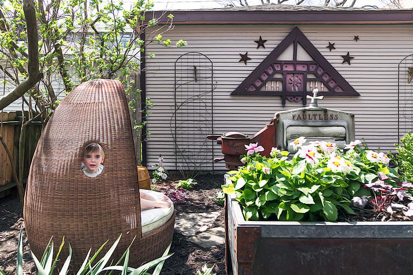 Backyard with an Egg Chair