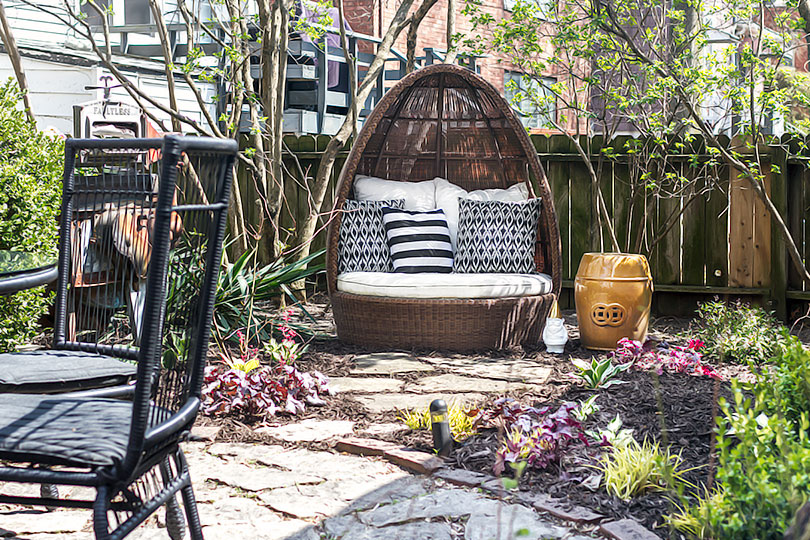 Egg Chair with Flagstone Path