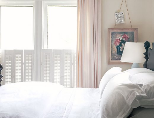 Quincy Bed in Blush Pink Bedroom with All-White Bedding | Making it Lovely