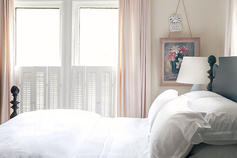 Quincy Bed in Blush Pink Bedroom with All-White Bedding   Making it Lovely