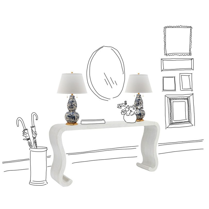 Miles Redd for Ballard Designs Console with Lamps
