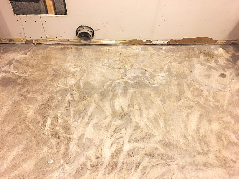 Scarified Painted Concrete - Basement Laundry Room | Making it Lovely