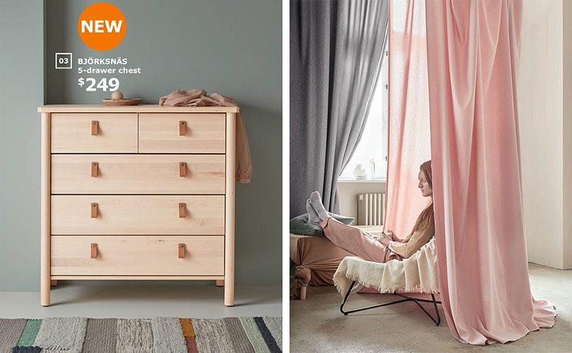IKEA Bjorksnas dresser chest and Hannalena curtains