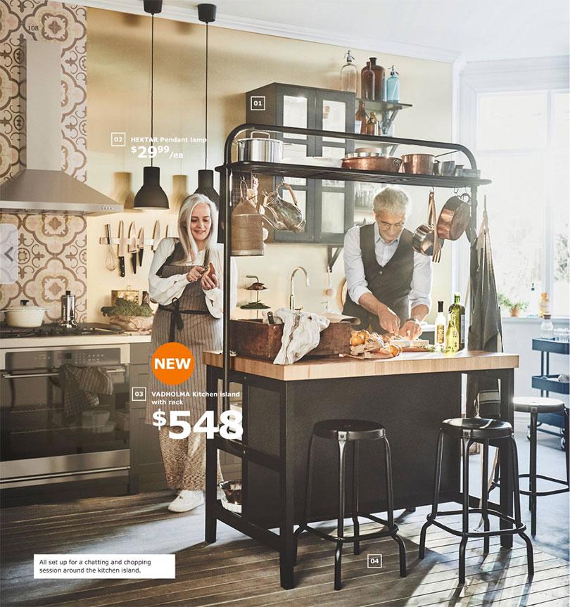 IKEA Vadholma Kitchen Island with Pot Rack - Making it Lovely