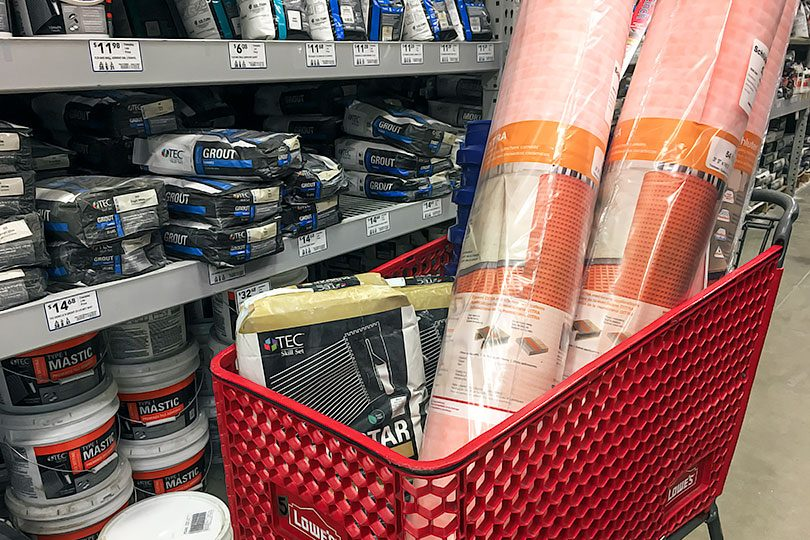 Shopping for Schluter Ditra and Uncoupling Mortar at Lowe's