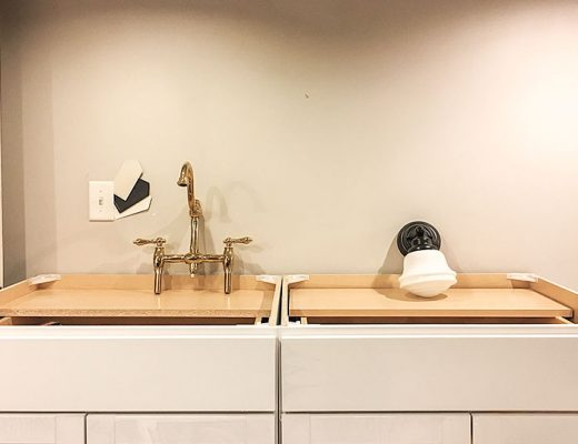 Stock Cabinets, Brass Faucet, Schoolhouse Sconce