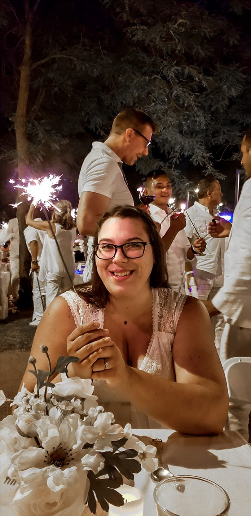 Ashley with Sparklers at Dîner en Blanc Chicago 2018