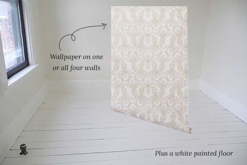 Light Room Shell with Wallpaper and Painted Wood Floors