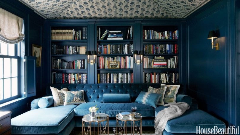 Hague Blue Home Library Bookshelves - Designed by Jeannette Whitson, Photographed by Simon Watson for House Beautiful