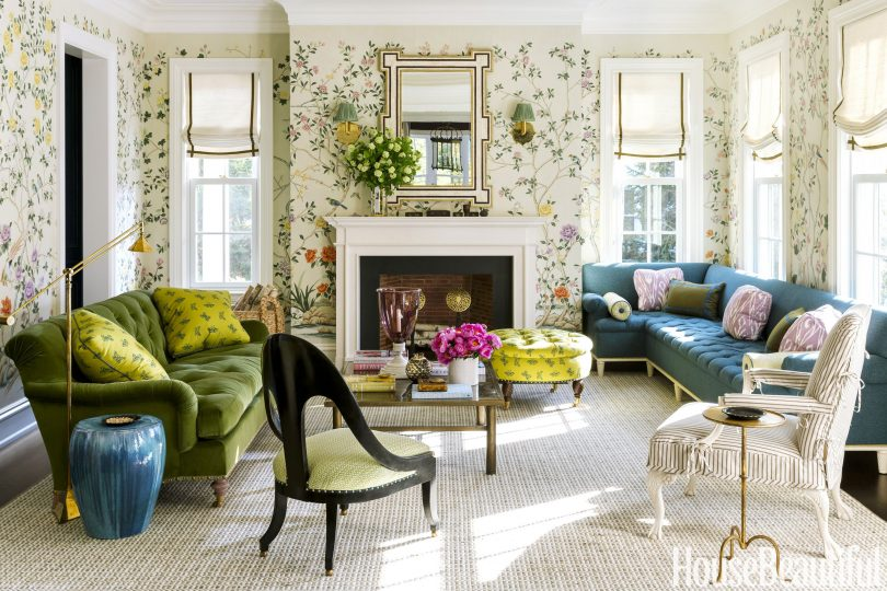 Colorful Living Room with Chinoiserie Wallpaper - Designed by Ashley Whittaker, featured in House Beautiful
