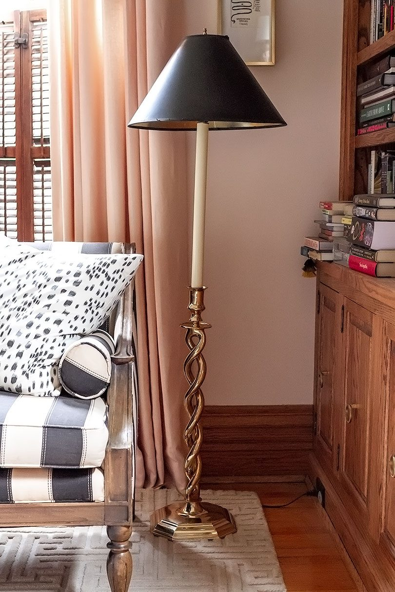 Vintage 1980s Brass Candlestick Floor Lamp with Black Tapered Shade