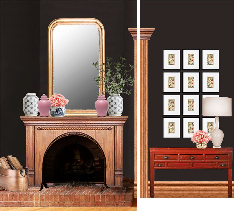 Photoshop Mockup: Louis-Phillipe Mirror Above Fireplace, Framed Grid of Art Above Red Console | Making it Lovely