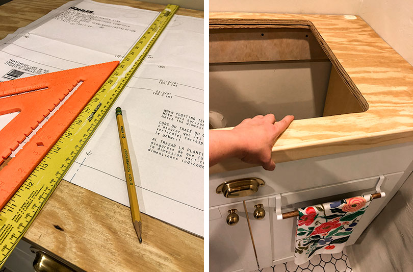 Cutting the Sink Opening in the Plywood Countertop
