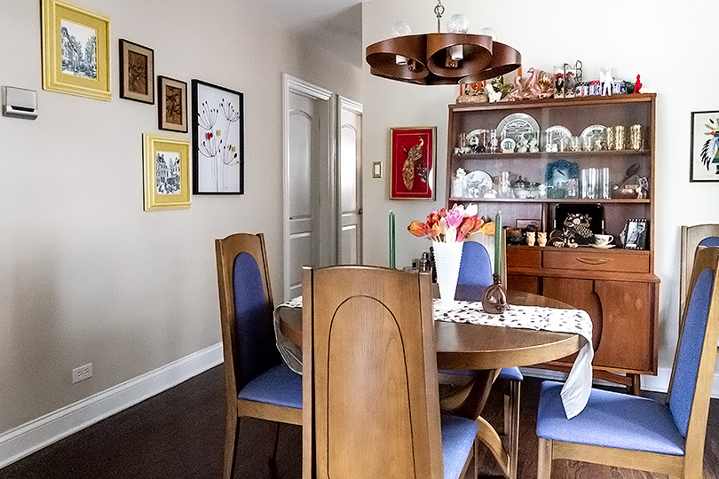GLAS Smart Thermostat in a Retro Cute Dining Room