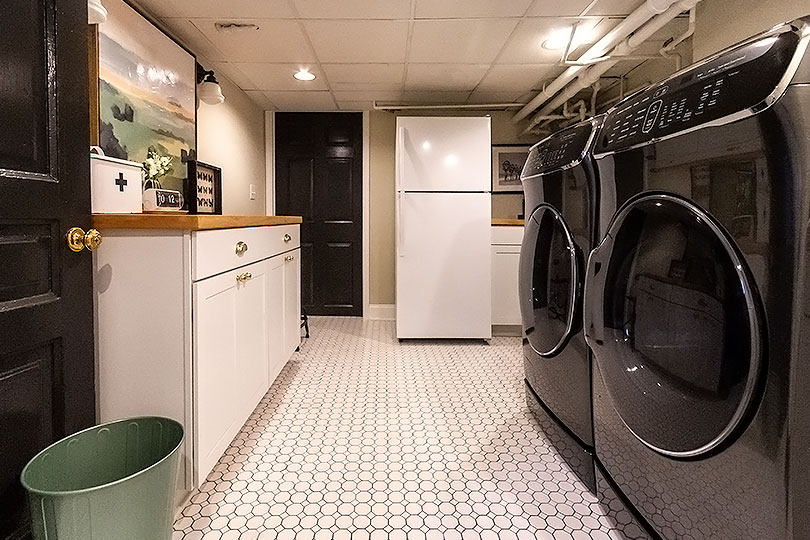 Basement Laundry Room with Secondary Fridge | Making it Lovely