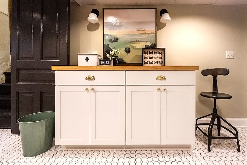 Storage Cabinets and Folding Laundry Space, Counter Stool