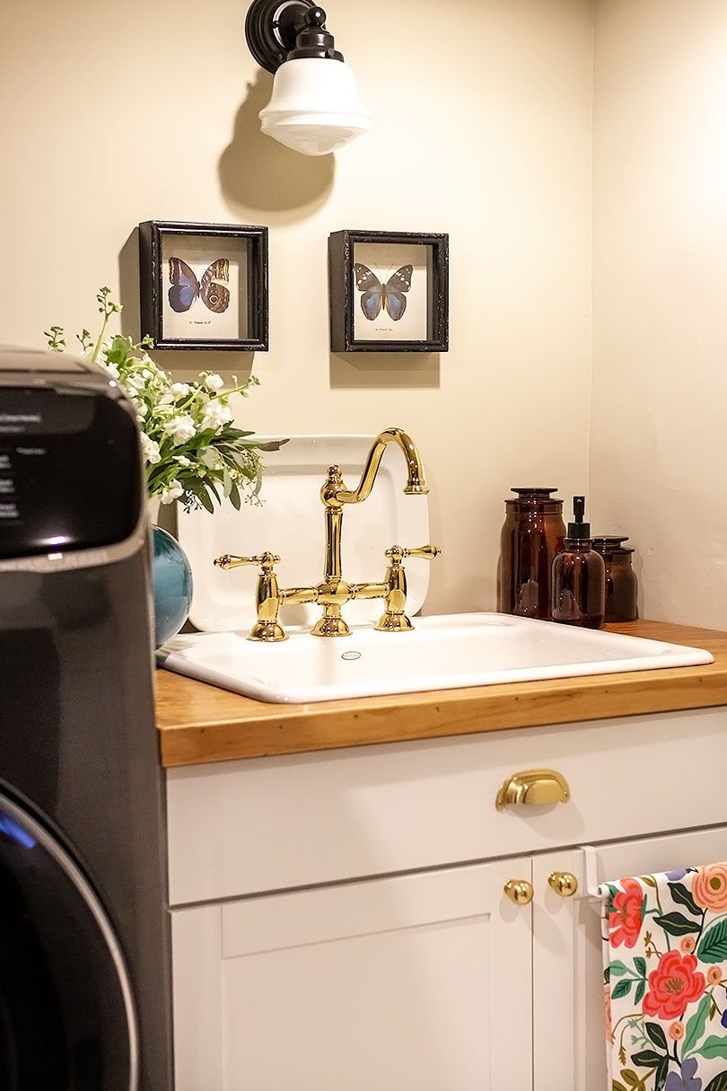 Cast Iron Utility Sink with Brass Faucet