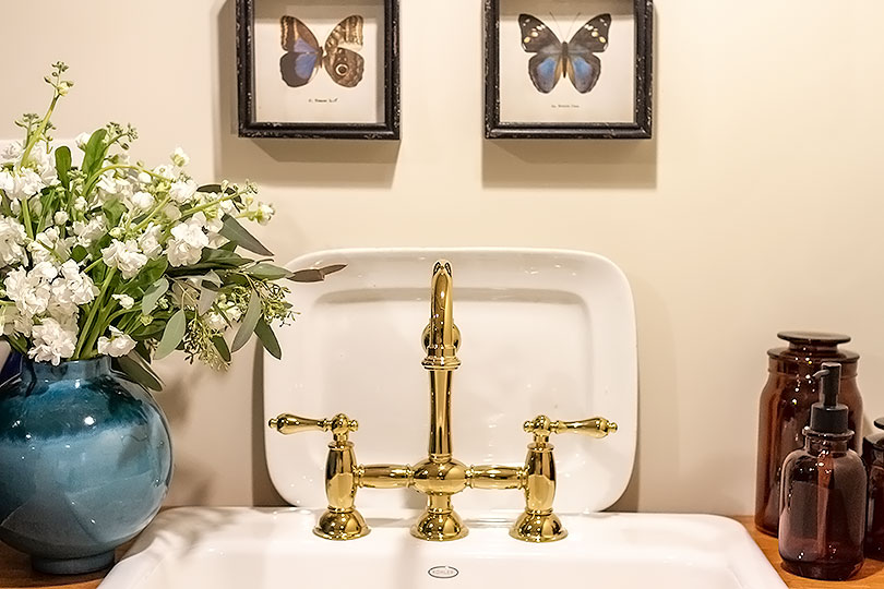 Brass Kitchen Faucet, Butterfly Prints