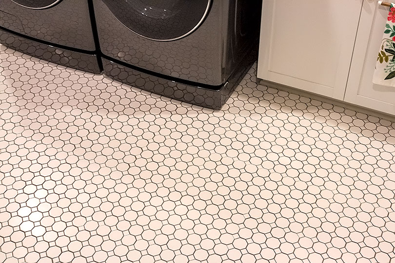 Octagon and Dot Tile from Lowe's in Laundry Room | Making it Lovely
