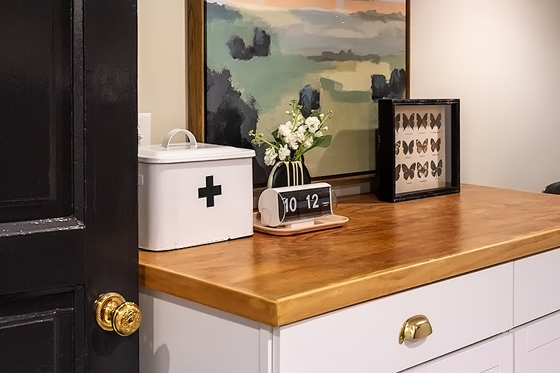 Cabinets with DIY Plywood Countertop