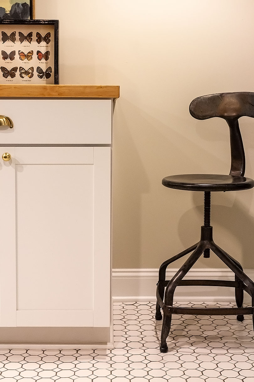 Counter Stool in Laundry Room