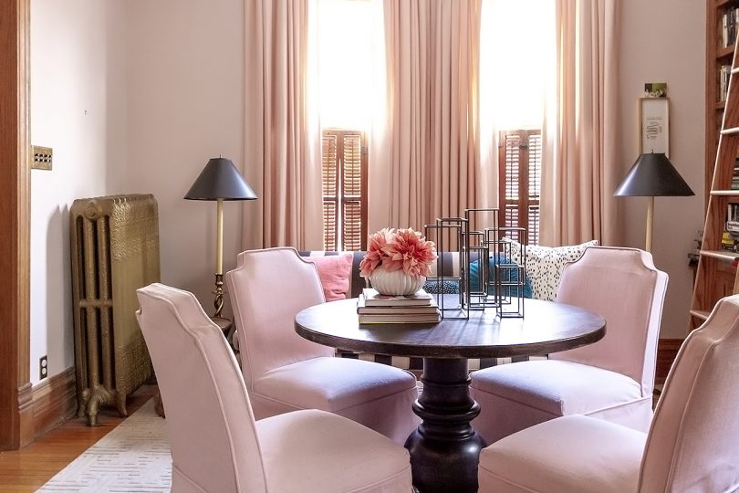 Pink Skirted Chairs, Black Pedestal Table | Home Library | Making it Lovely