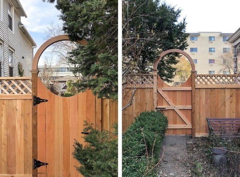 Circle Garden Gate with Lattic-Top Cedar Fence and Arbor