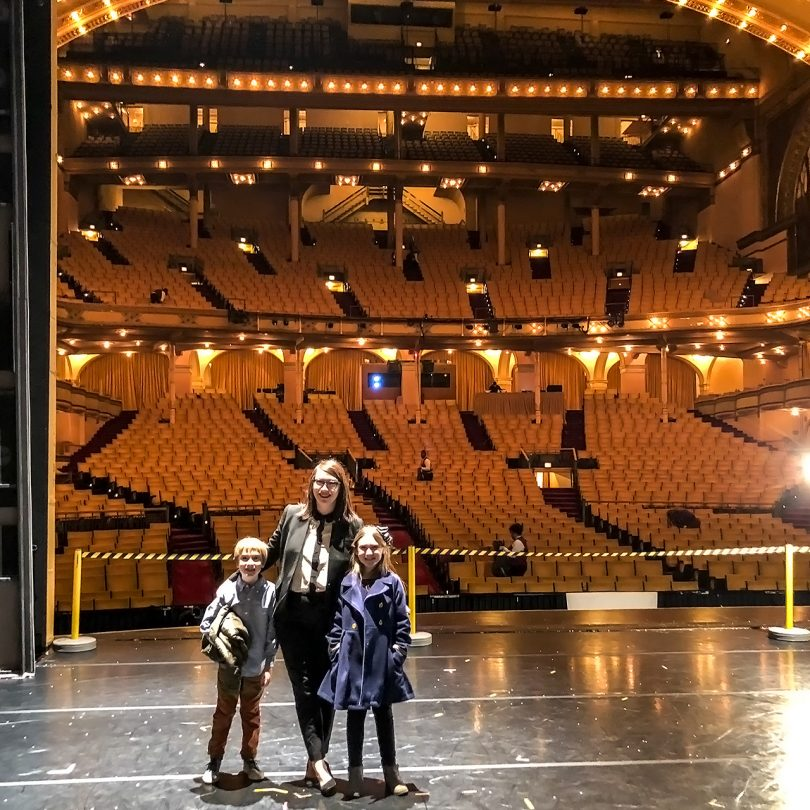 On stage after a showing of The Nutcracker, Joffrey Ballet at the Auditorium Theater, Chicago