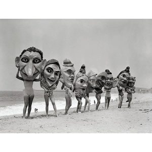 Women Holding Giant Masks, Bettmann Photo