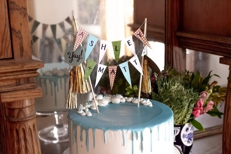 Baby Shower Cake with Bunting Topper