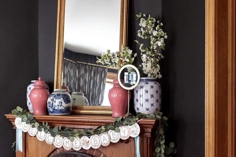 Fireplace Mantel Decorated for a Baby Shower | Making it Lovely