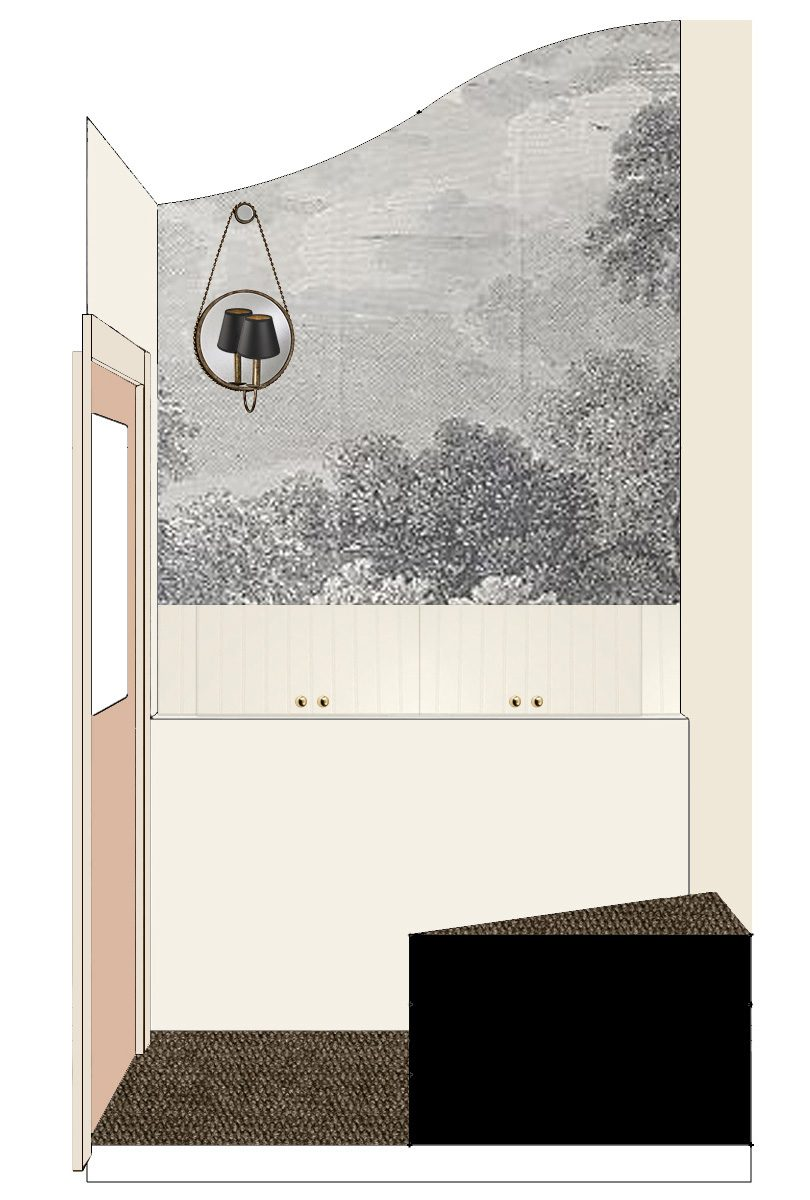 Back Entryway Mockup with Etched Arcadia Wallpaper