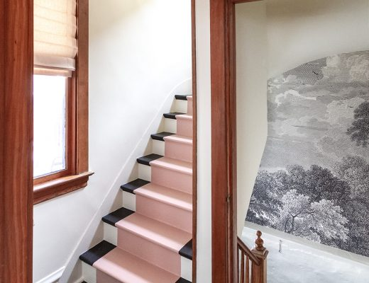 Pink Painted Stair Runner, Etched Arcadia Wallpaper Mural | Making it Lovely