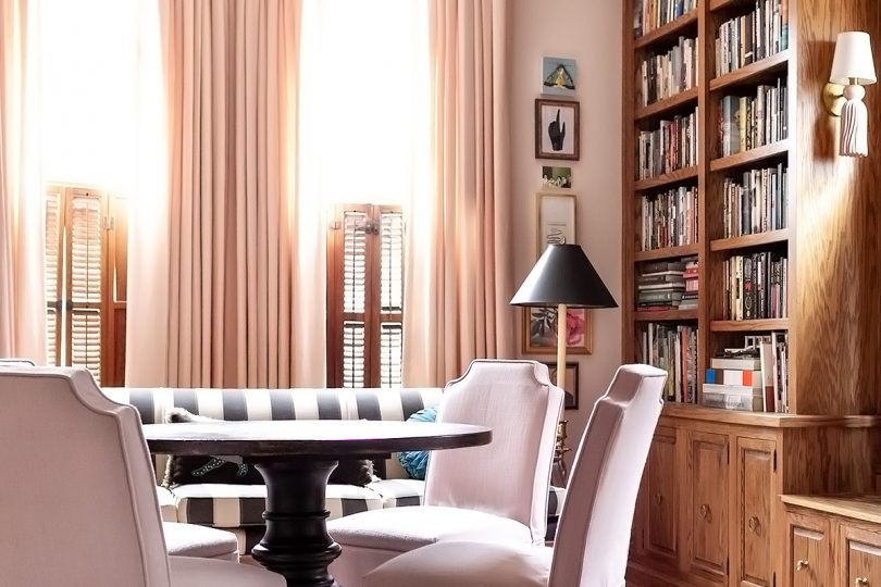 Home Library with Column of Art and Prints from Artfully Walls | Making it Lovely