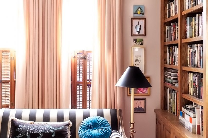Artfully Walls Gallery Wall Column in a Home Library | Making it Lovely