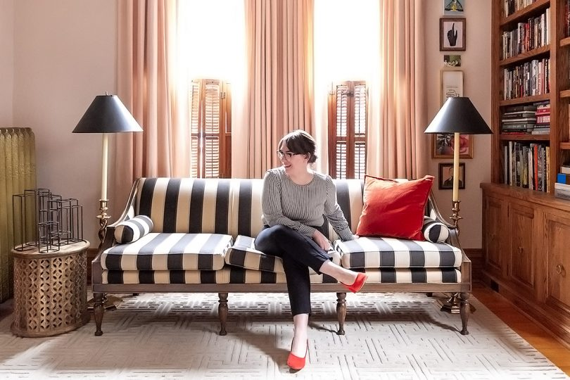 Black and White Striped Sofa, Matching Black and White Striped Top   Making it Lovely
